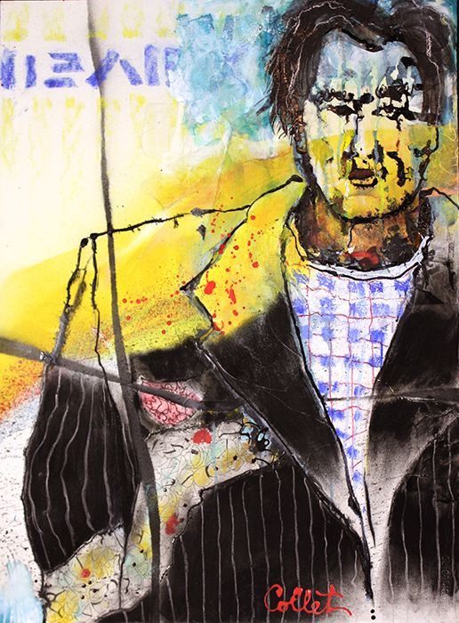 """Man in yellow, black and blue - Mixed media on paper - 22"""" X 30"""""""