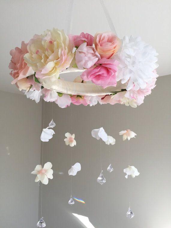 Floral Mobile, Flower Mobile, Flower Baby Mobile, Nursery Mobile, Baby Girl Mobile, Pink Flower, Pink Mobile, Boho Mobile, Floral Chandelier