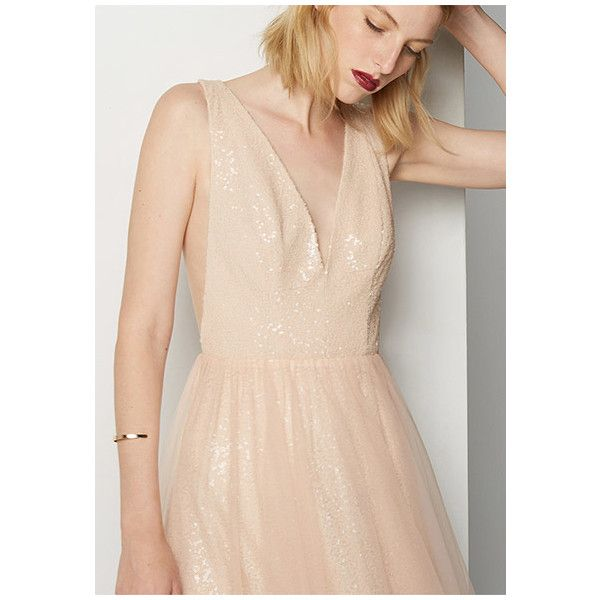 Nude Gigi Dress ($259) ❤ liked on Polyvore featuring dresses, nude, formal cocktail dresses, beige prom dresses, sequin bridesmaid dresses, formal dresses and beige bridesmaid dresses