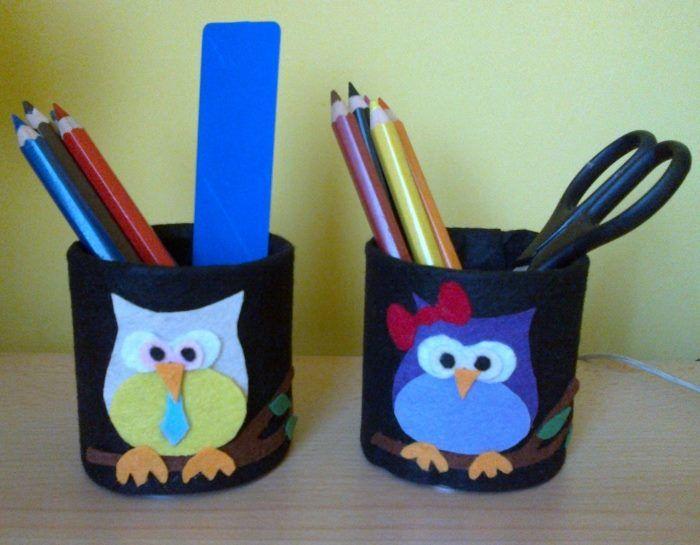 Bagolykás ceruzatartó filcből az íróasztalra gyerekeknek