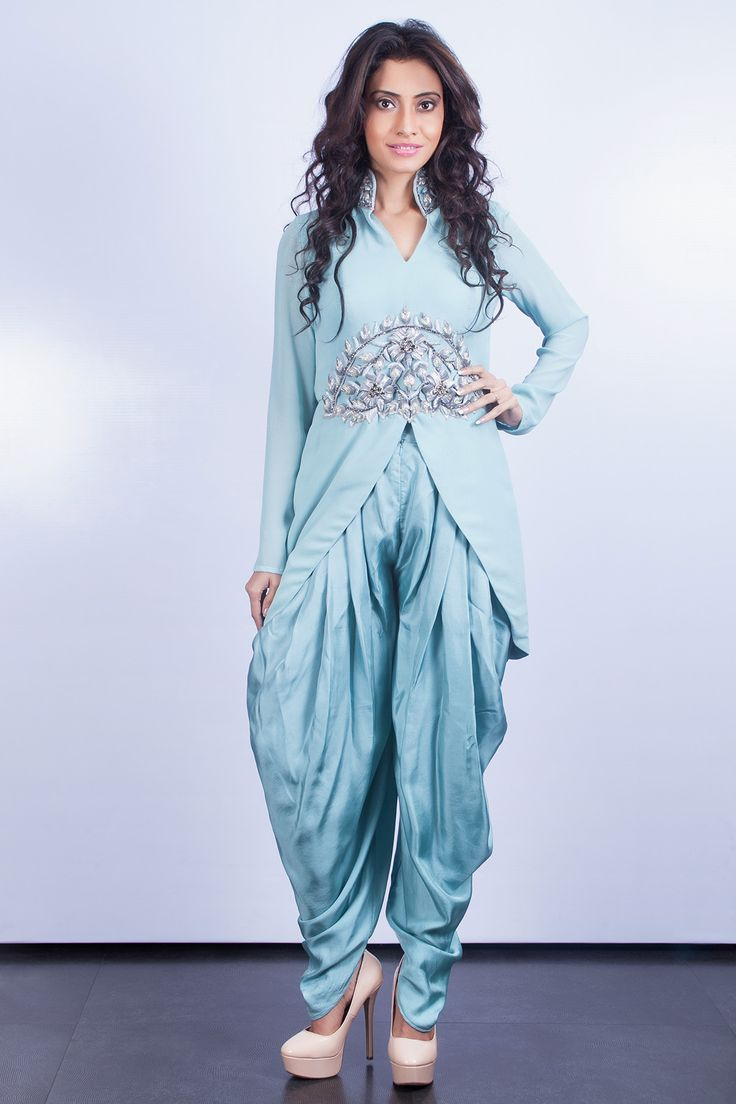 Perfect Buy Fashionwalk Blue Georgette Dhoti Pants Online At Best Prices In India - Snapdeal