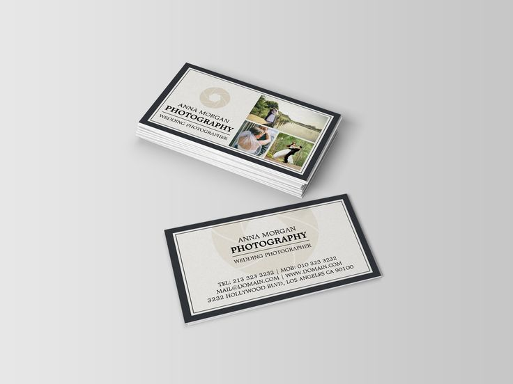 An elegant two sided business cards template for wedding photographers. This business card design offers you the ability to add your own photography work to the template. While this template is ideal for wedding photographers, it will work just fine for other areas of photography, such as portrait or landscape photography.