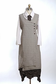 Camilla Frock / Jumper (grey) by Ivey Abitz, worn over a white blouse and black underskirt.