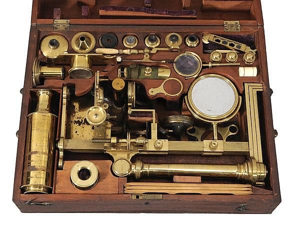 A fine Regency lacquered brass 'universal' pattern compound microscope, William and Samuel Jones, London, early 19th century,