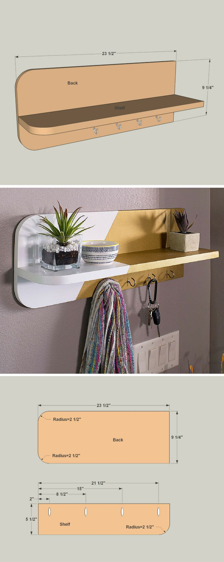 How to build a DIY Drop-Zone Shelf | Free printable project plans at buildsomething.com | Corral the clutter the moment you walk in the door with this drop-zone shelf. It's the perfect place to hang your keys, set your mail, and maybe even place your pocket change. You can build one in no time using just two boards, some pocket-hole screws, cup hooks, and paint.