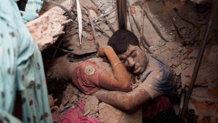 Even Death Will Not Do Us Apart: An embracing couple found in the rubble of a collapsed factory in Bangladesh.