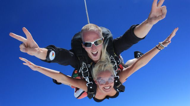 It's easy being happy when you're an adrenaline junkie 14,000 feet in the air on a tandem skydive! #SkydiveAustralia #skydive #fun #tandemskydiving