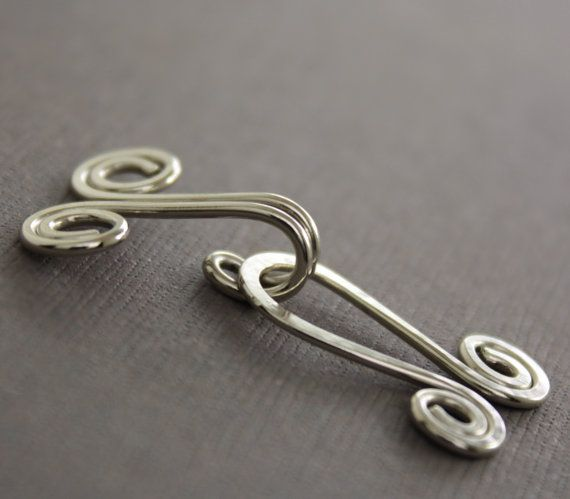 Handmade spiral German silver cardigan clasp or sweater clasp