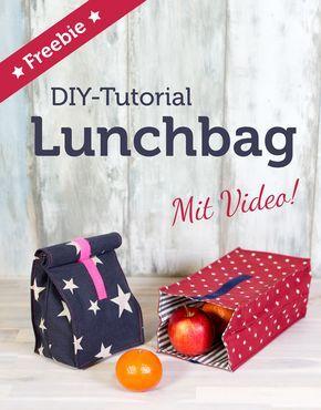 Lunchbag aus Wachstuch und schönem Stoff einfach selber nähen - Anleitung mit Freebie und Videotutorial! Zum Nähen lernen für Anfänger >>>