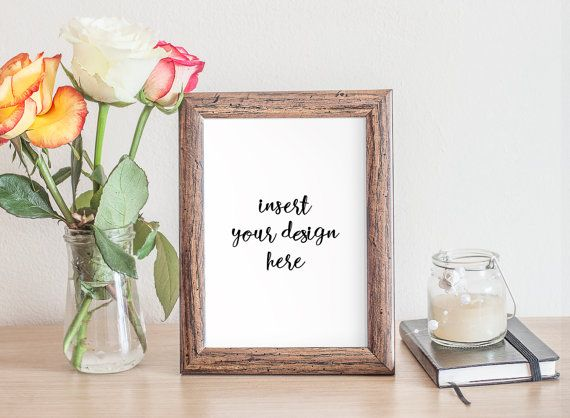 Wooden Frame Mock-up With Beautiful Roses And A by JeanBalogh