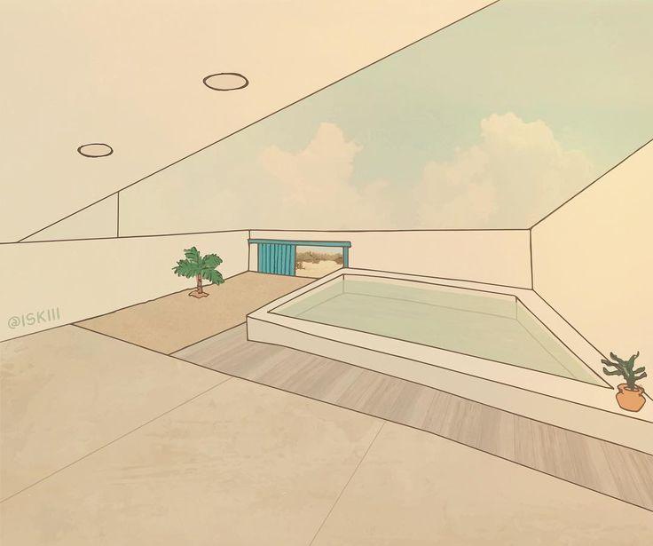 house in estoril beach art by ❑ https://www.instagram.com/iskiii/