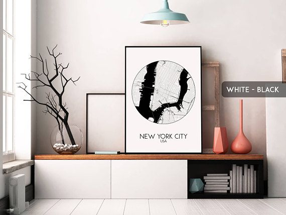 NEW YORK CITY circle map print New York City poster New York