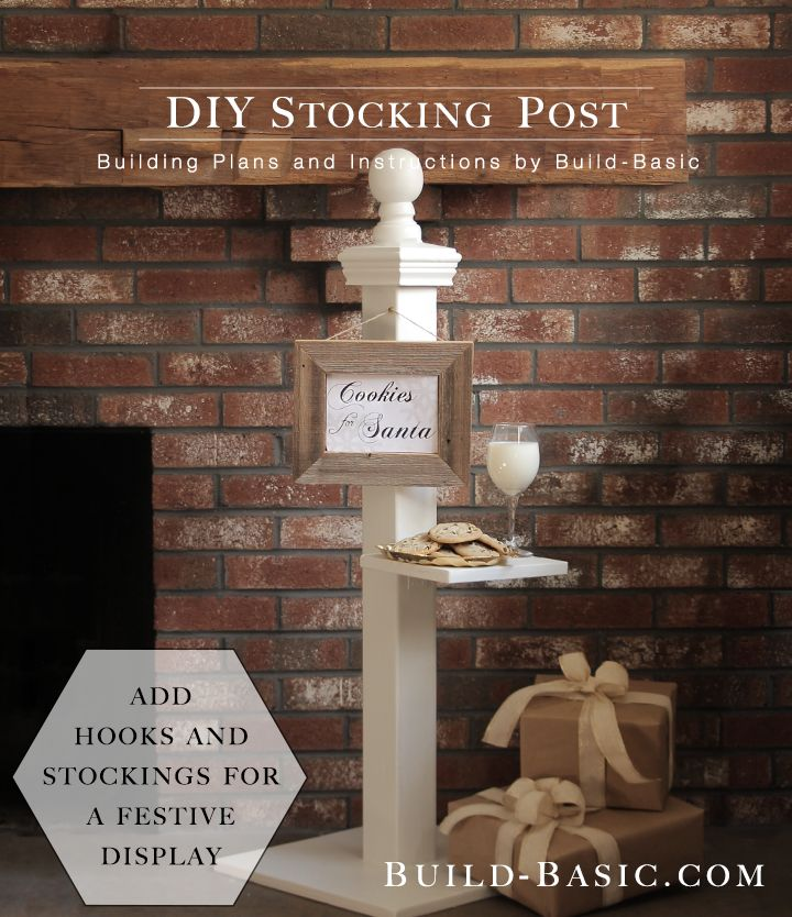 This free-standing post is a perfect holiday decoration to place next to the tree or fireplace. Use it to hold cookies and milk for Santa like I did, or add hooks to hang stockings! NOTE: Th…