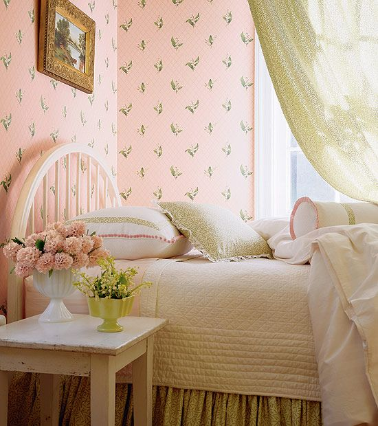 Small Cozy Bedroom For Girls Bewitching Pink Wallpaper In: 17 Best Ideas About Pink Vintage Bedroom On Pinterest