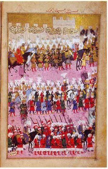 Sultan Murad III, upon the walls of Istanbul,Shahin-Shah-nama, by Nakkas Osman 1597