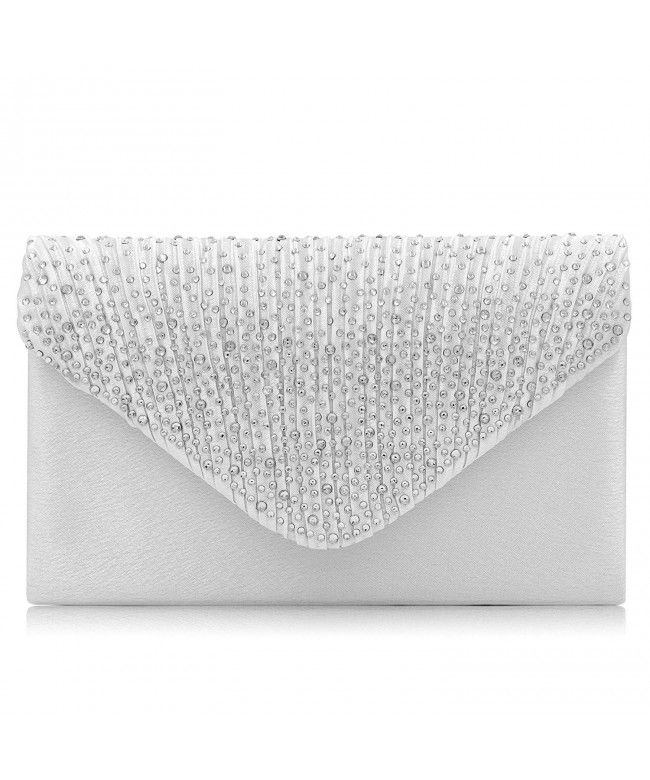 0f329018be Women Evening Bag Rhinestone Envelope Clutch Bag Party Wedding Clutch Purse  - Silver - C418GGMU0HN
