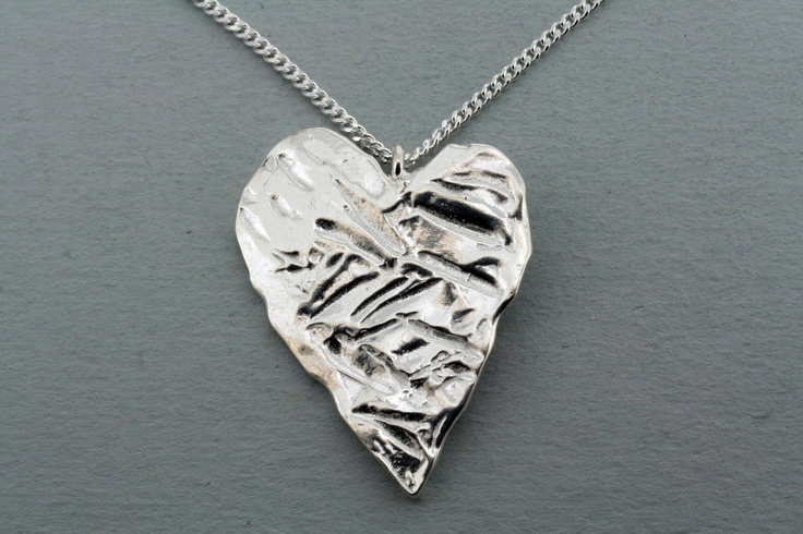 Alan Myerson Jewellery - Textured heart necklace    Hand made pendant on chain, sterling silver.  Made in Mexico. • Available at thebigdesignmarket.com