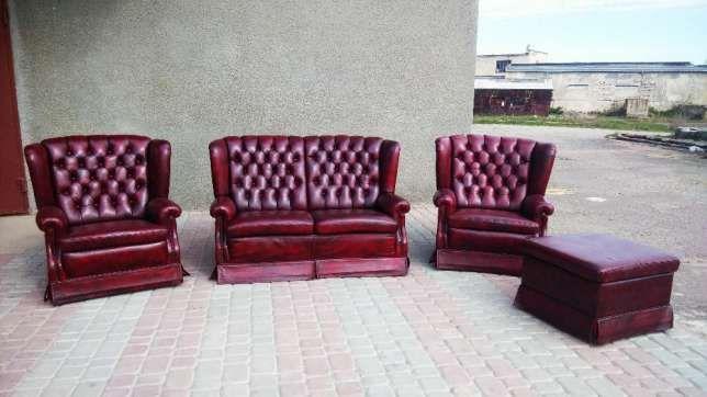 Кожаный двухмесный диван два кресла и пуфик Chesterfield Днепропетровск - изображение 1