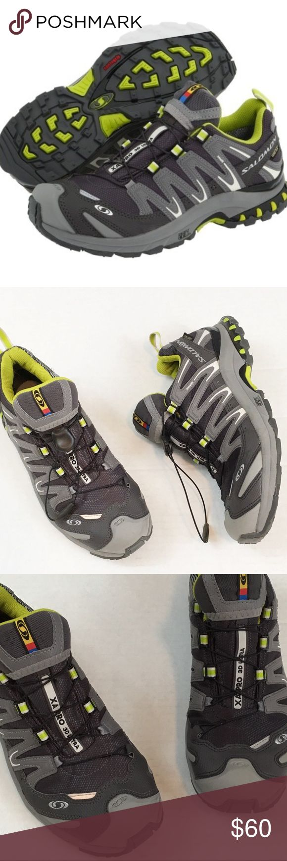 Salomon XA Pro 3D Trail Running Hiking Shoes Grey and neon green trail running or hiking shoes. Waterproof design (Gore-Tex). Single pull lace. Provides great traction, uppers show light wear and insoles and bottom soles show normal wear. Recently washed and dried in the sun. VGUC for trail runners. Salomon Shoes Sneakers