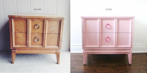 lackfarben für holz acryllack möbel blass rosa kommode