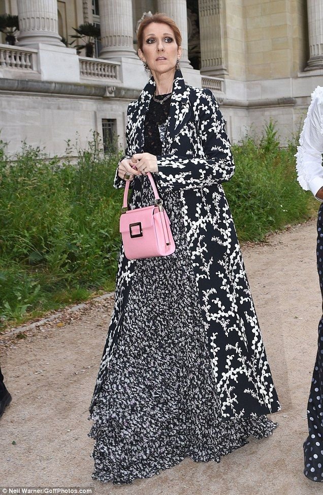 In the pink:Celine couldn't resist adding a pop of colour to her style with a baby pink p...