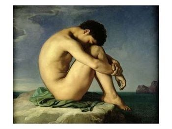 Una elegante línea geométrica formada con el perfil de este joven desnudo se recorta sobre el mar sin separarse espiritualmente de él. ...