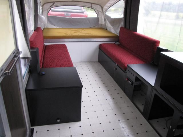 This is such a cool pop up camper restoration.  I love the modern look.