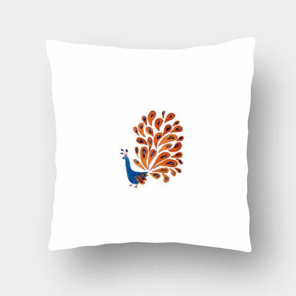 Peacock Cushion Cover #cushion #pillow #cushioncover #peacockcushion #gift #folkprint