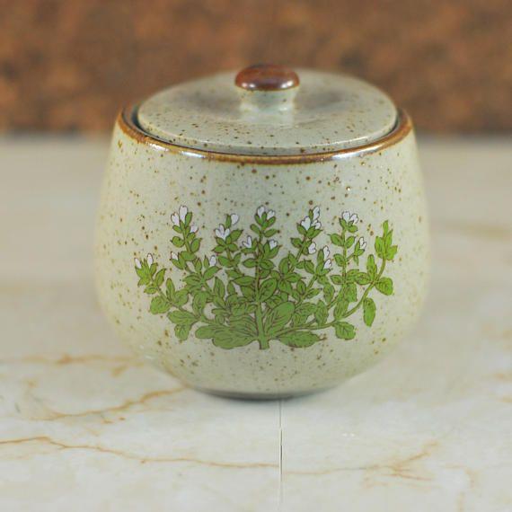 Vintage Takahashi Floral Speckled Stoneware Pot With Lid Stoneware Pot Decorative Jars Floral Decor