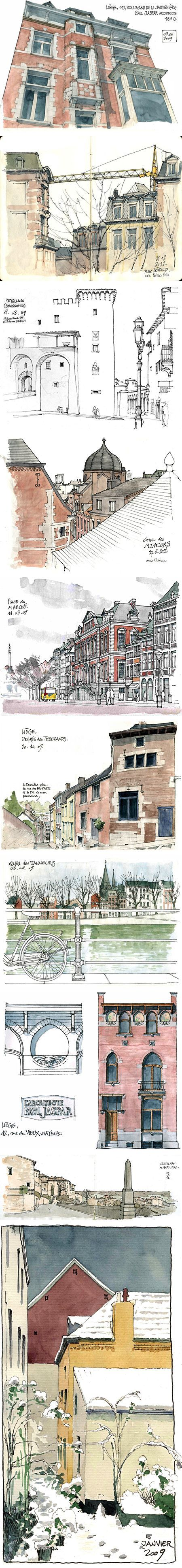 I need to start SKETCHING again!  Gerard Michel - Urban Sketches