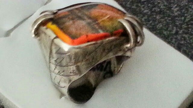 Silver ring with venitian glass stone