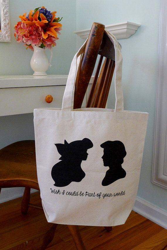 Little mermaid tote bag, mermaid, disney mermaid tote, disney tote, little mermaid, disney, princess ariel, ariel and eric on Etsy, $15.00   So cute !
