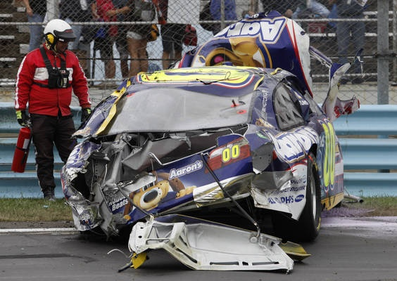 David Reutimann's bad wreck at Watkins Glen