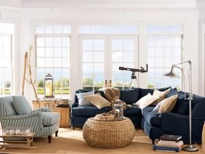 family room sectional and chair would be perfect if only pottery barn living family room navy sectional wood and white