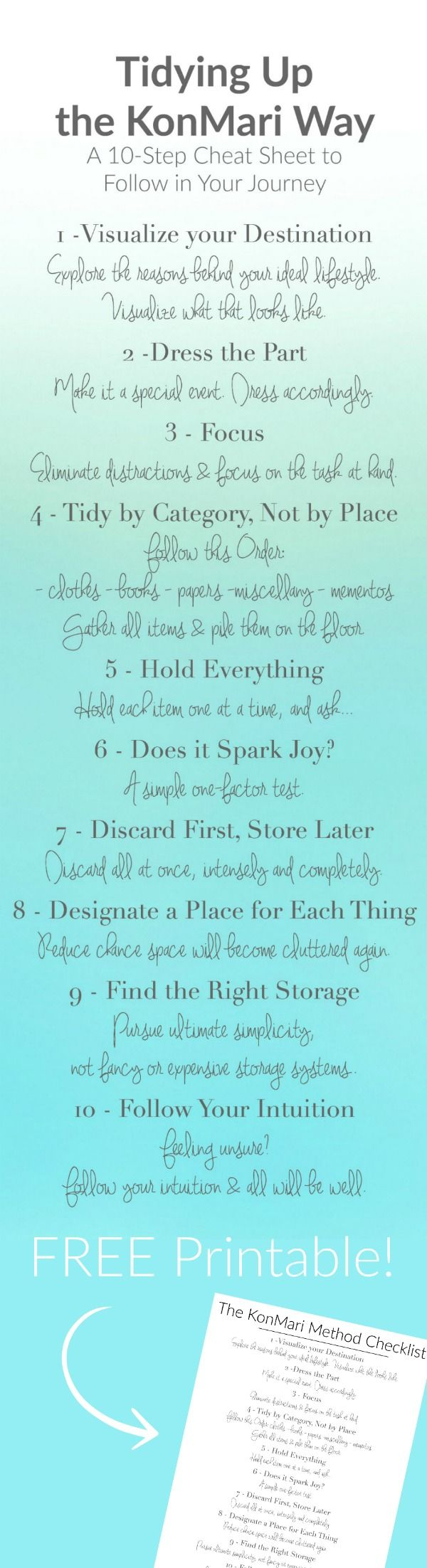 """Tidying Up The KonMari way. Have you read """"The Life-Changing Magic of Tidying Up"""" and """"Spark Joy"""" by Marie Kondo? Are your ready to tidy up and organize your home and life? Use this FREE printable 10-point checklist to get started!"""