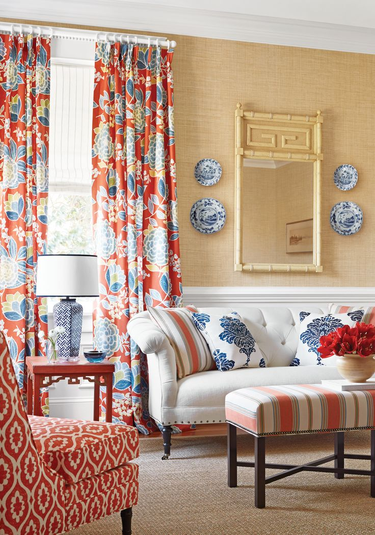 I really like the color combination of blue, white & coral, the fabric choices, the grass cloth walls & the Asian motif mirror. A fresh, clean & happy space....V