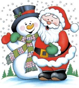Papá Noel con muñeco de nieve. Idea fieltro
