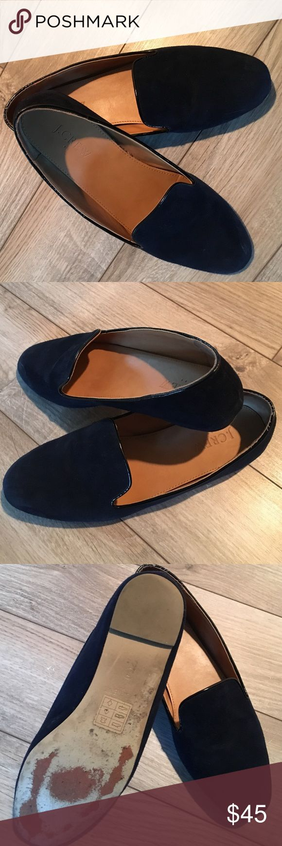 J. Crew Darby Suede Loafers Dark blue suede loafers, worn a few times. Final photo shows a couple of slight scuffs, everything else is perfect. Very comfortable, dress up or down. J. Crew Shoes Flats & Loafers