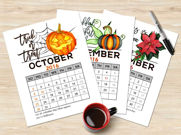 Printable calendar 2016 Holiday calendar Inspirational quote calendar 2016 Monthly planner Holiday plan set October November December 2016 by TheBlackCatPrints on Etsy