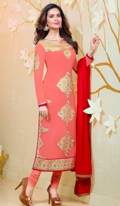 Beautiful Pink Pajami Suit with red chunni. Punjabi Suit-Pajami