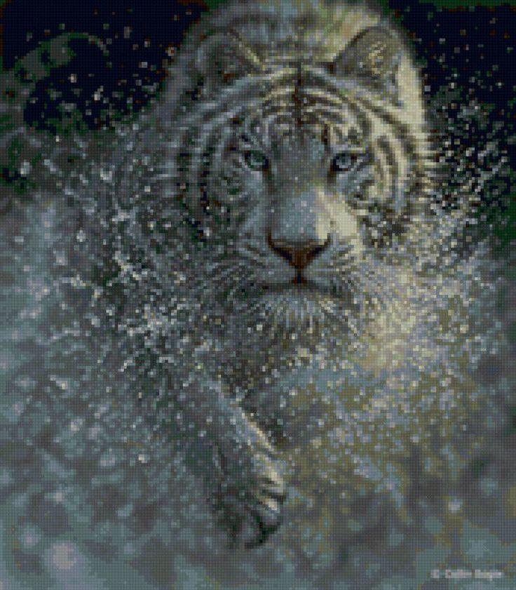 Предпросмотр схемы вышивки «Тигр в воде»