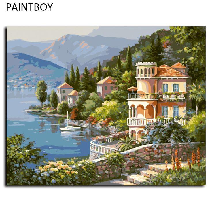 Zeegezicht diy schilderen by numbers frameloze pictures digitale canvas olieverf europa woondecoratie voor woonkamer g347