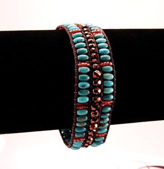 Turquoise Beaded Leather Single Wrap Bracelet Pompeii by Livllov, $75.00: Bracelet Pompeii, Row Wrap, Wrap Bracelets, Bracelets Single, Beaded Bracelets, Beaded Leather, Bracelet Ideas