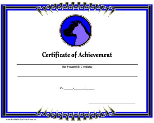 This printable certificate of achievement
