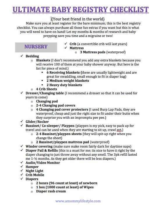 The Ultimate Baby Registry Checklist! - A Mommy Lifestyle.  One day this will prob save my life when I get pregnant.