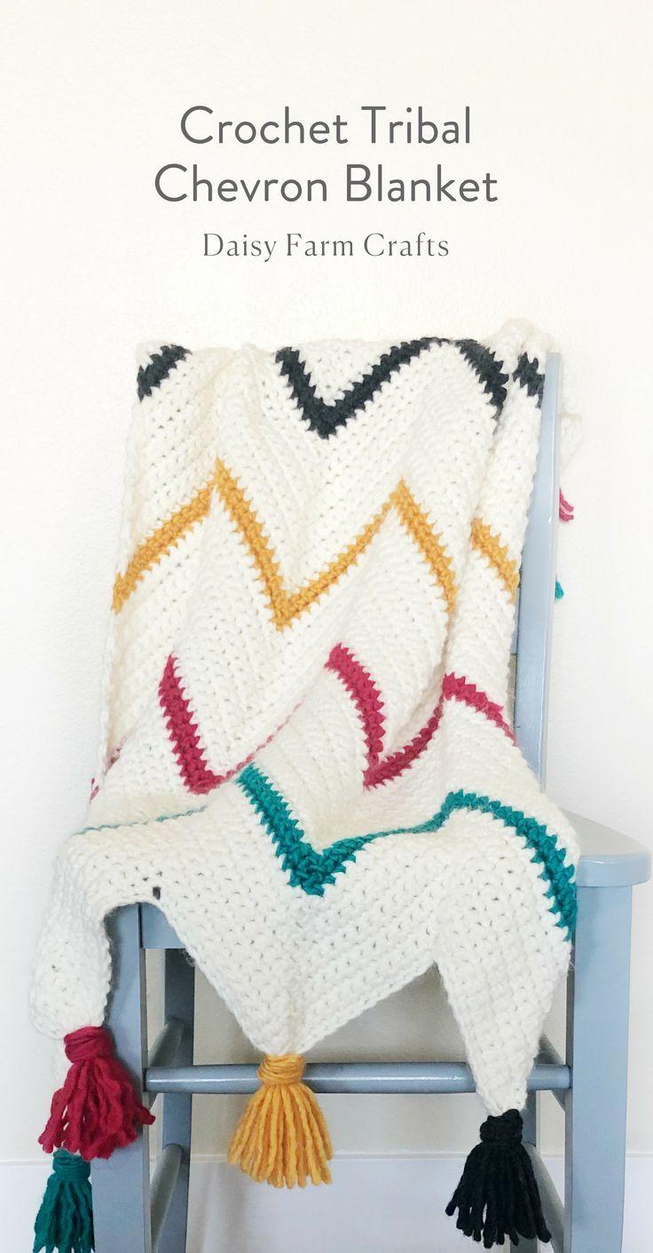 Free Pattern - Crochet Tribal Chevron Blanket #crochetpattern