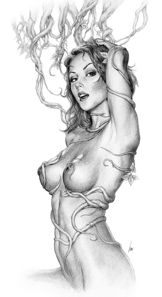 Sexy girls anime pencil drawing