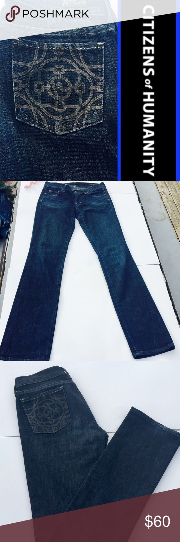 Citizens of humanity jeans Citizens of humanity AVA straight leg EUC size 6 /28 very flattering the wash and the fit makes your thighs look slimmer they are in between skinny and boot cut which is perfect for those with big thighs. Medium wash made in lightweight denim subtle fading and whiskering  gives it vintage appeal.     Shop and feel good about it 😁. Part of the money u spend goes to Purple Heart Foundation 💜 Citizens of Humanity Jeans Straight Leg