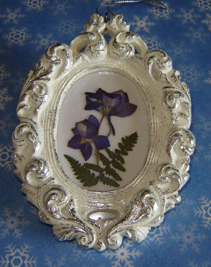 Blue Delphinium on white velvet in a silver and white oval vintage frame ~ Pressed Flower Christmas Ornament ~ http://www.etsy.com/shop/PressedGarden