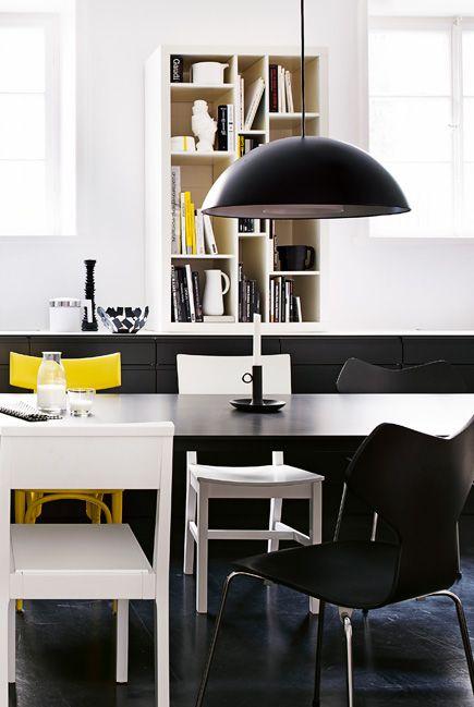 dining: Pendants Lamps, Decor Style, Elle Decor, Black White, Dining Spaces, Brasa Pendants, Yellow Accent, Inspiration Interiors, Decor Blog